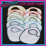 100 WHITE BABY BIBS PLAIN JOB LOT BULK BUY WHOLESALE - 160691406260